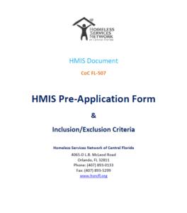 HMIS Pre Application Form